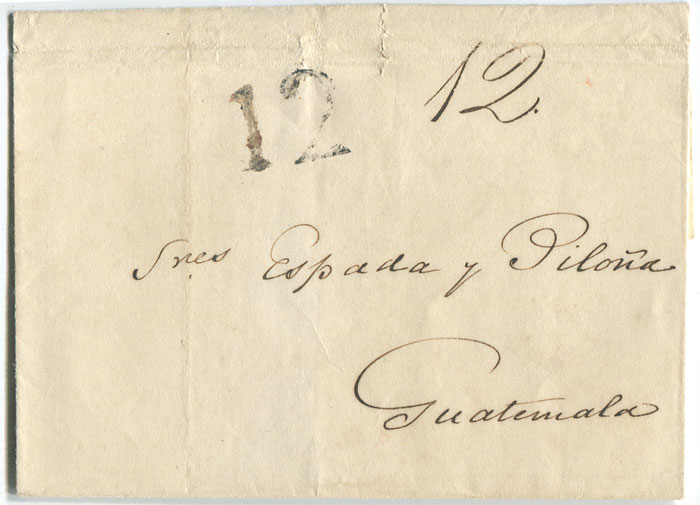 1839 (23 Dec) cover from Belize to Guatemala