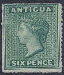 1863-7 Antigua Small star, 6d green (SG8),