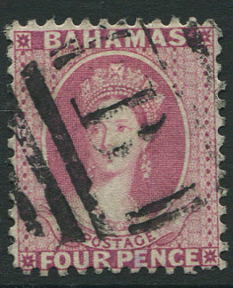 1882 Crown CA, Bahamas perf 12, 4d rose (SG41),