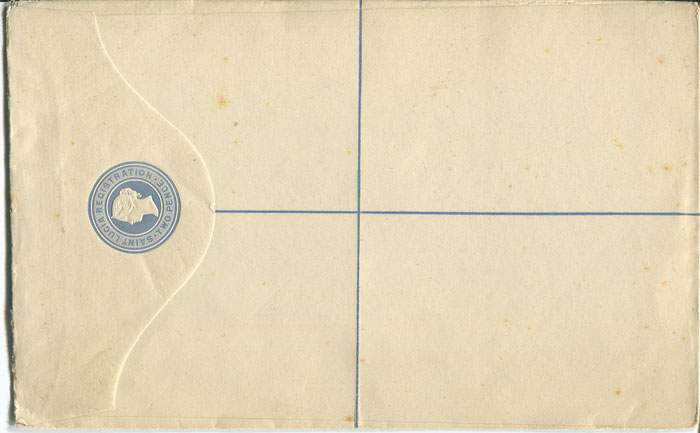 1882 St Lucia postal stationery 2d registered env., size H, (H/G1b),