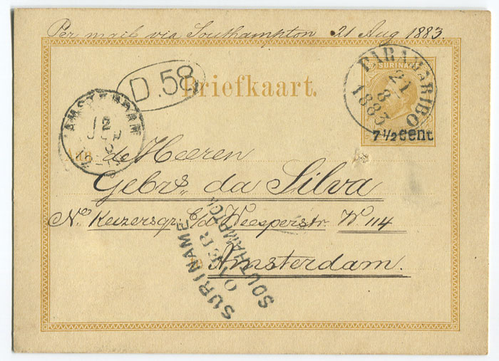 1883 (21 Aug) 7½c on 12½c yellow postal card used to Amsterdam