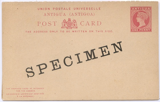 1886-7 Antigua postal stationery 1d + 1d reply card