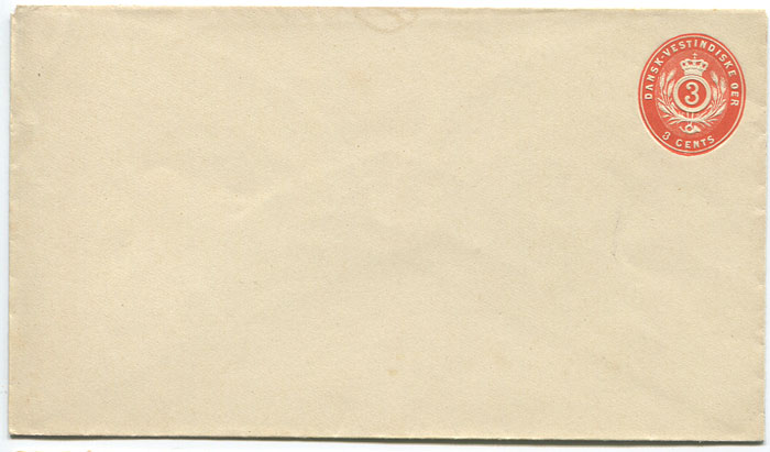 1893 postal stationery 3c red orange envelope (bottom flap over side flaps) (Engstrom E7a),