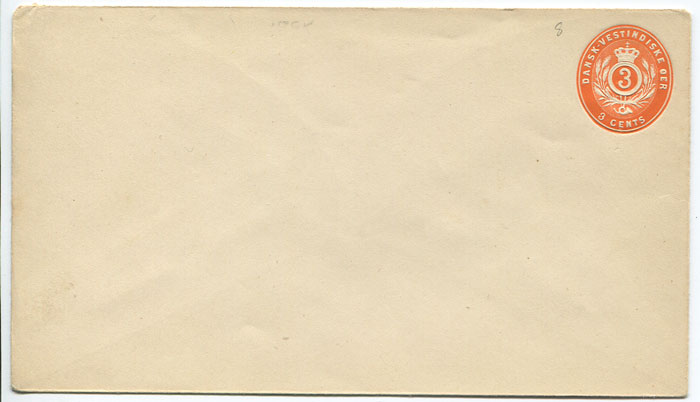 1893 postal stationery 3c orange envelope (bottom flap over side flaps) (Engstrom E7b),
