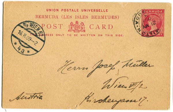 1893 Bermuda postal stationery 1d card (PC10),