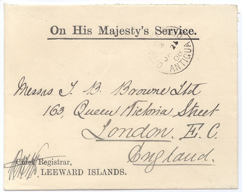 1908 Antigua O.H.M.S. cover to England with good strike of scarce