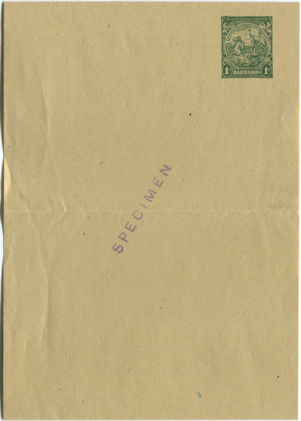 1938 Barbados postal stationery 1d wrapper
