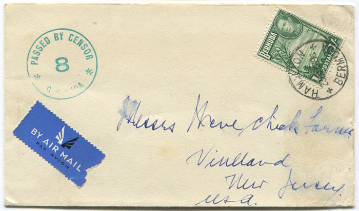 1939 (23 Dec) Berrmuda airmail cover to U.S.A.