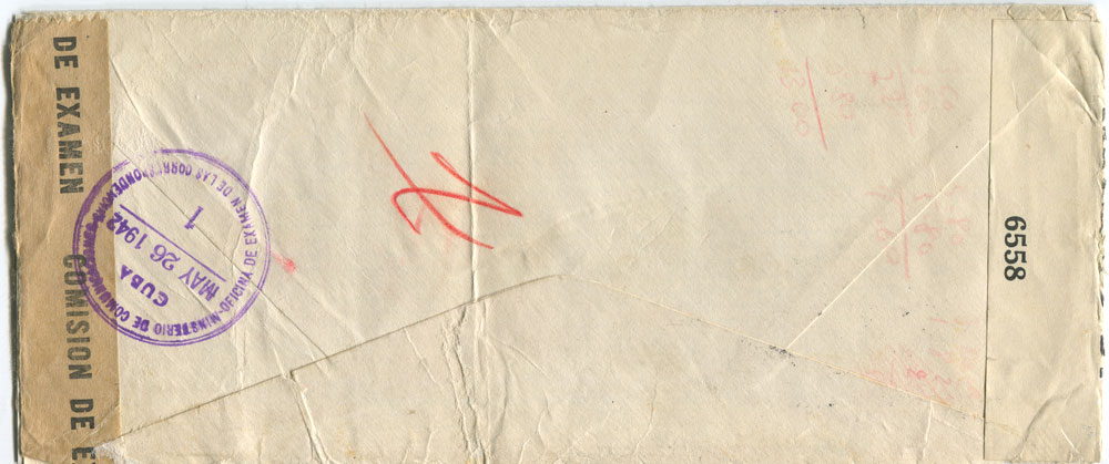 1942 (25 May) Cuban F/S size cover to Switzerland