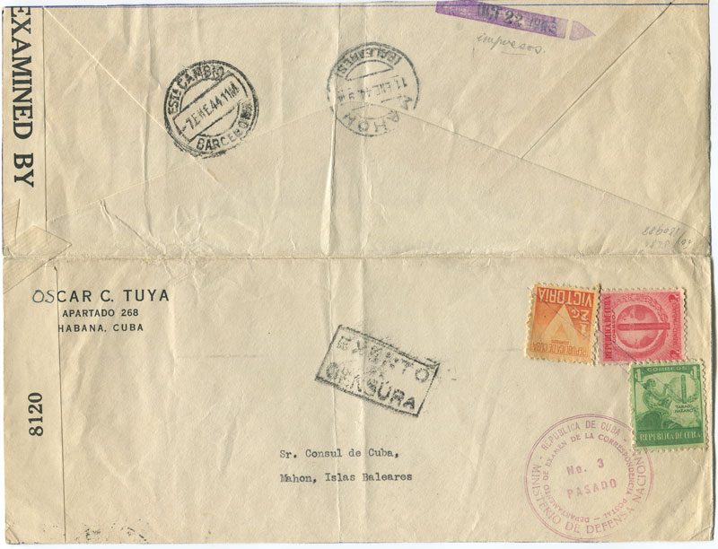 1943 (22 Oct) Cuba opened out F/S size cover to Mahon, Minorca
