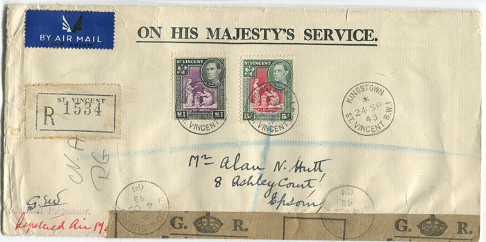 1948 St Vincent F/S size reg. air mail cover to England