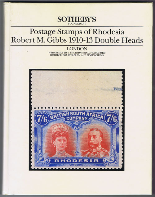 1987 (21-23 Oct) Postage stamps of Rhodesia. - Robert M. Gibbs 1910-13 Double Heads