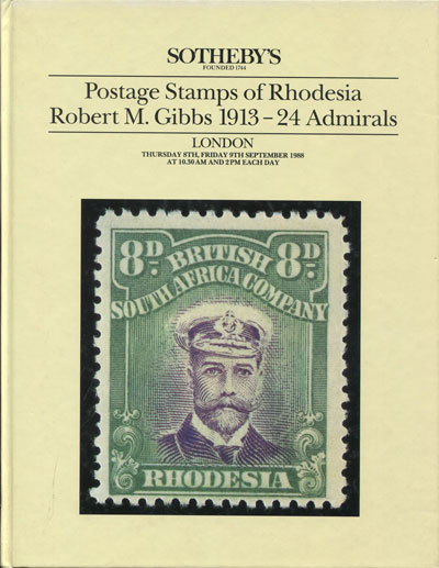 1988 (8-9 Sep) Postage stamps of Rhodesia. - Robert M. Gibbs 1913-24 Admirals