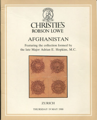 1988 (19 May) Afghanistan. - Featuring the collection formed by the late Major Adrian E. Hopkins, M.C.