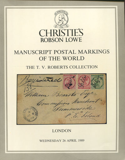 1989 (26 Apr) Manuscript postal markings of the World.  T.V. Roberts collection.