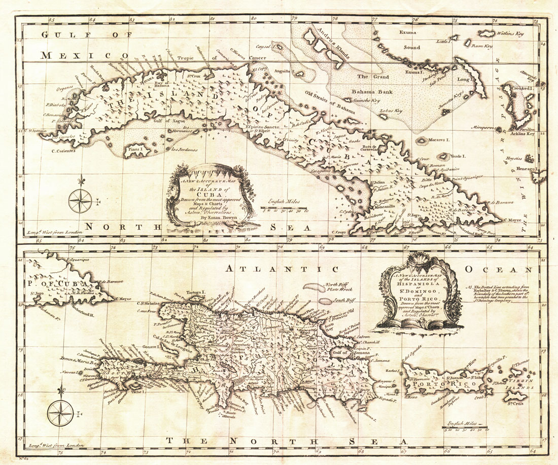 BOWEN E. A new and accurate map of the island of Cuba. - Together with
