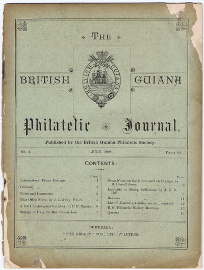 BRITISH GUIANA PHILATELIC SOCIETY The British Guiana Philatelic Journal. - No. 4