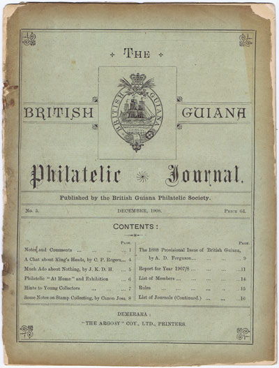 BRITISH GUIANA PHILATELIC SOCIETY The British Guiana Philatelic Journal. - No. 5