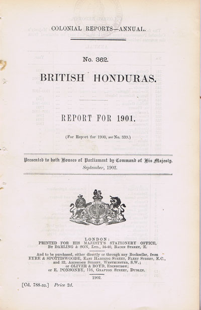 BRITISH HONDURAS Report for 1901.