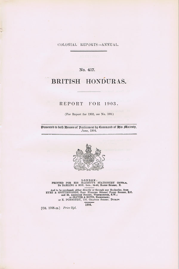 BRITISH HONDURAS Report for 1903.
