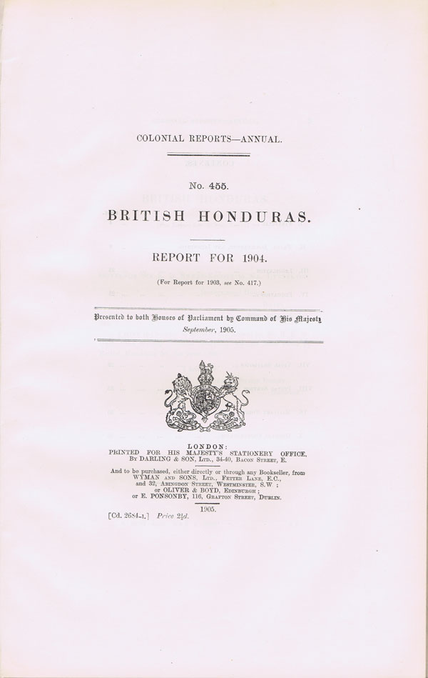 BRITISH HONDURAS Report for 1904.