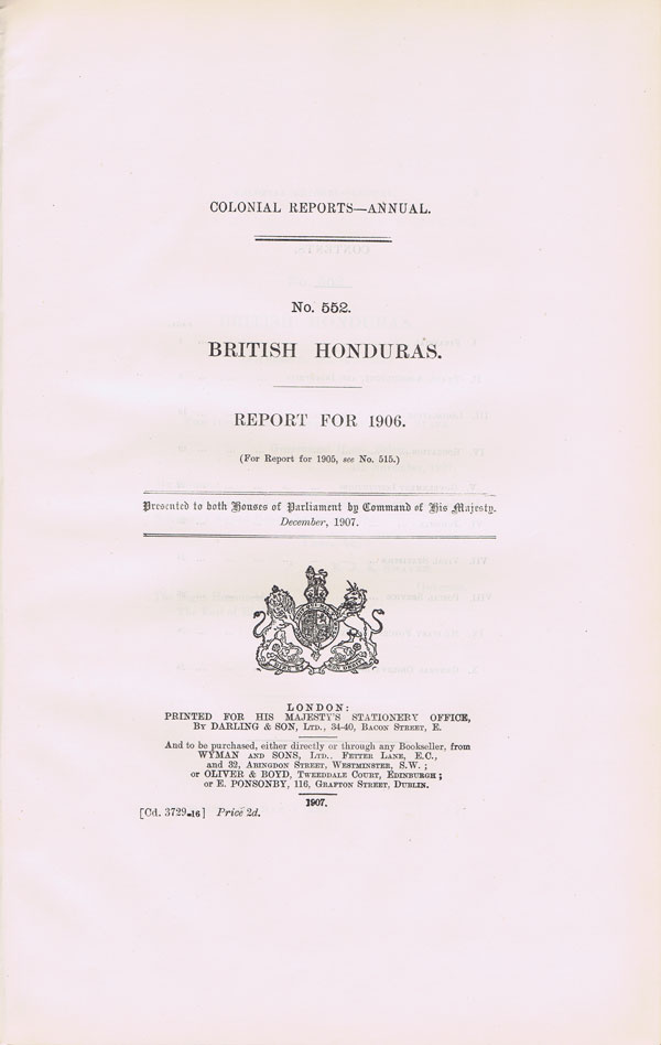 BRITISH HONDURAS Report for 1906.