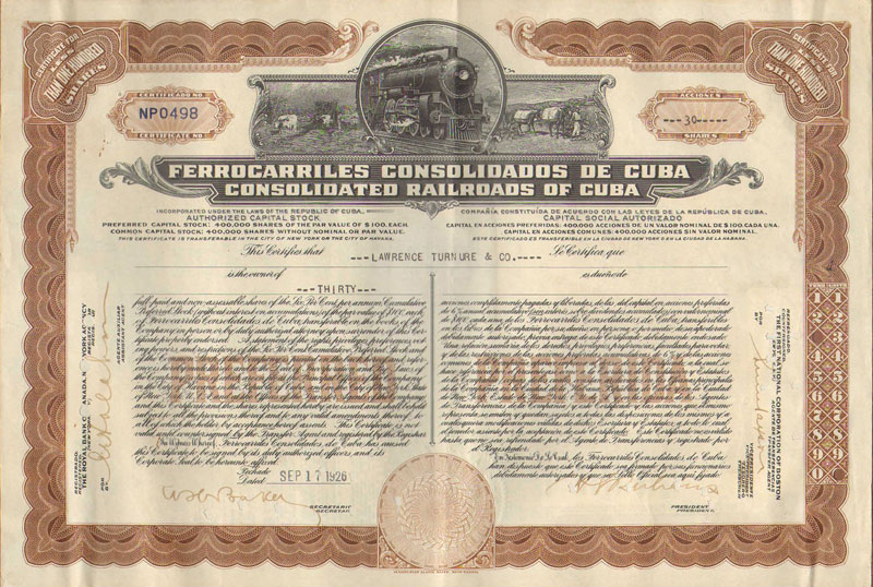 CONSOLIDATED RAILROADS OF CUBA Share certificate