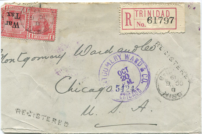 1919 (6 Oct) ERIN cds on part Trinidad reg. cover to U.S.A.