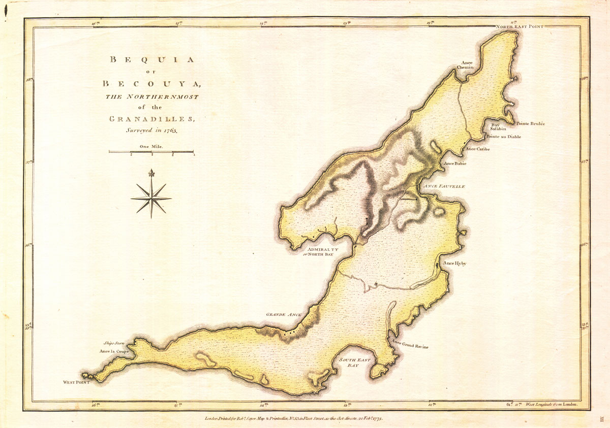 JEFFERYS T. and SAYER R. Bequia or Becouya, - the northern most of the Granadilles, surveyed in 1763