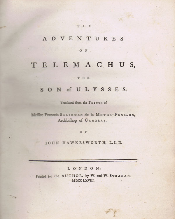 HAWKESWORTH John The Adventures of Telemachus the Son of Ulysses.