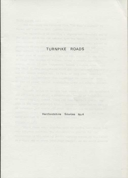ANON Turnpike Roads. Hertfordshire Sources No 4