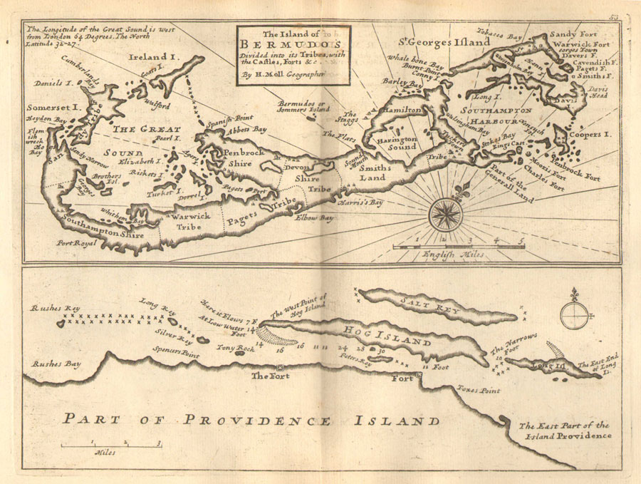 MOLL H. The Island of Bermudos - Divided into its Tribes with the Castles, Forts &c.  By H. Moll Geographer.