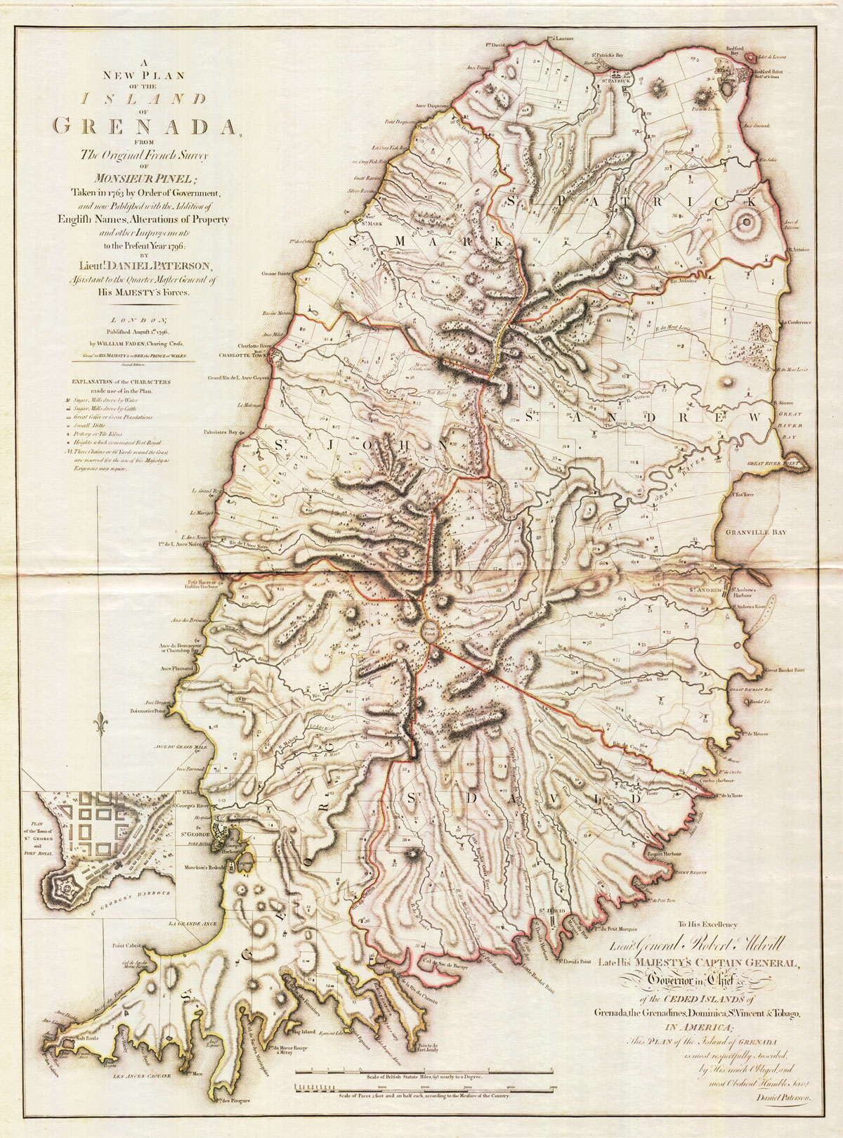 PATTERSON Lieut D. A New Plan of the Island of Grenada - from the original French survey of Monsieur Pinel taken in 1763 by order of Government and now published with the addition of English names, Alterations of Property and other improvements to the present year 1780 by Lieut. Daniel Paterson, Assistant to the Quarter Master General of His Majesty