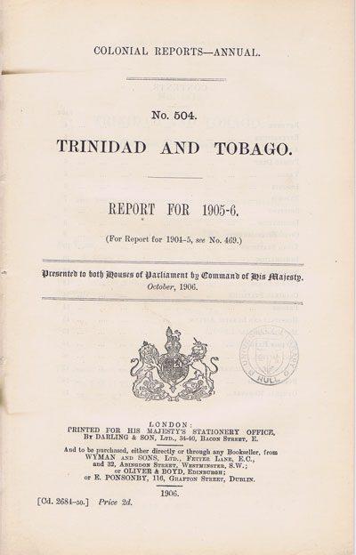 TRINIDAD AND TOBAGO Report for 1905-6.
