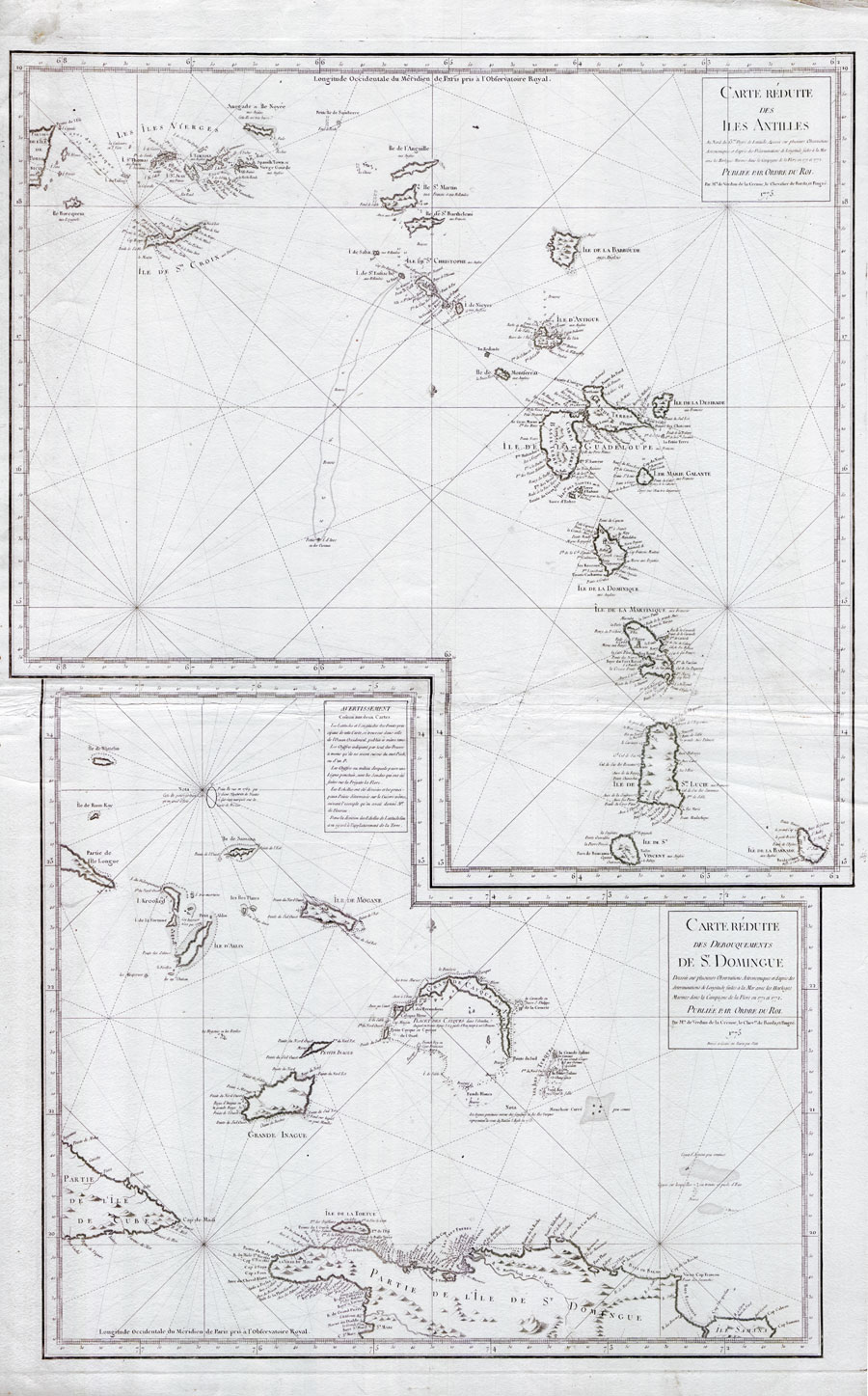 VERDUN DE LA CRENNE Carte Reduite des Isles Antilles - together with