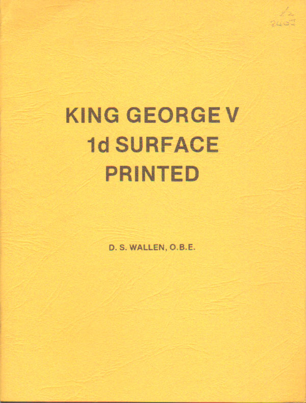 WALLEN D.S. King George V 1d Surface Printed