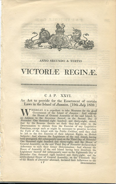 1839 (19 July) An Act to provide for the Enactment of certain laws in the island of Jamaica.