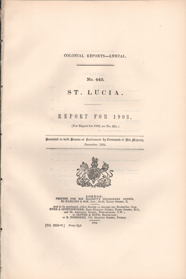 ST LUCIA Report for 1903.