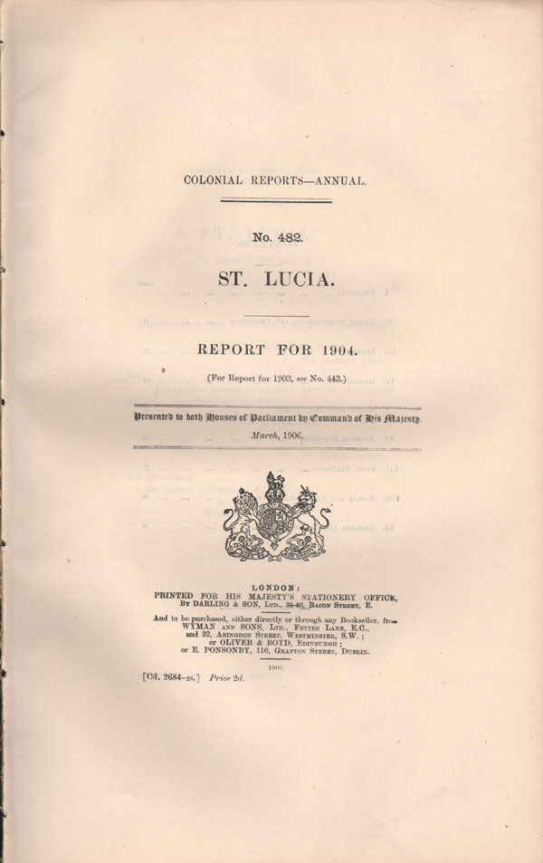 ST LUCIA Report for 1904.