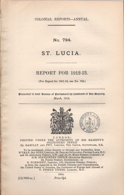 ST LUCIA Report for 1912-13.