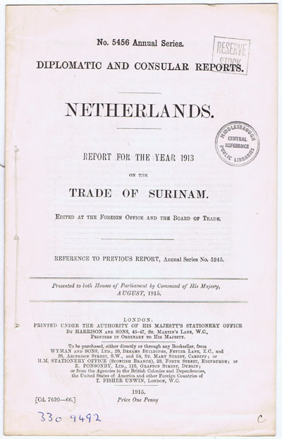 KISSACK Report for the year 1913 on the trade of Surinam. - Edited at the Foreign Office and the Board of Trade.