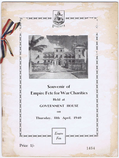 BERMUDA Souvenir of Empire Fete for War Charities held at Government House on Thursday 11th April 1940.