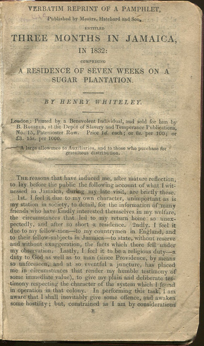 WHITELEY Henry Verbatim Reprint of a Pamphlet, published by Messrs Hatchard and Son entitled, Three Months in Jamaica, in 1832: - comprising a residence of seven weeks on a sugar plantation.