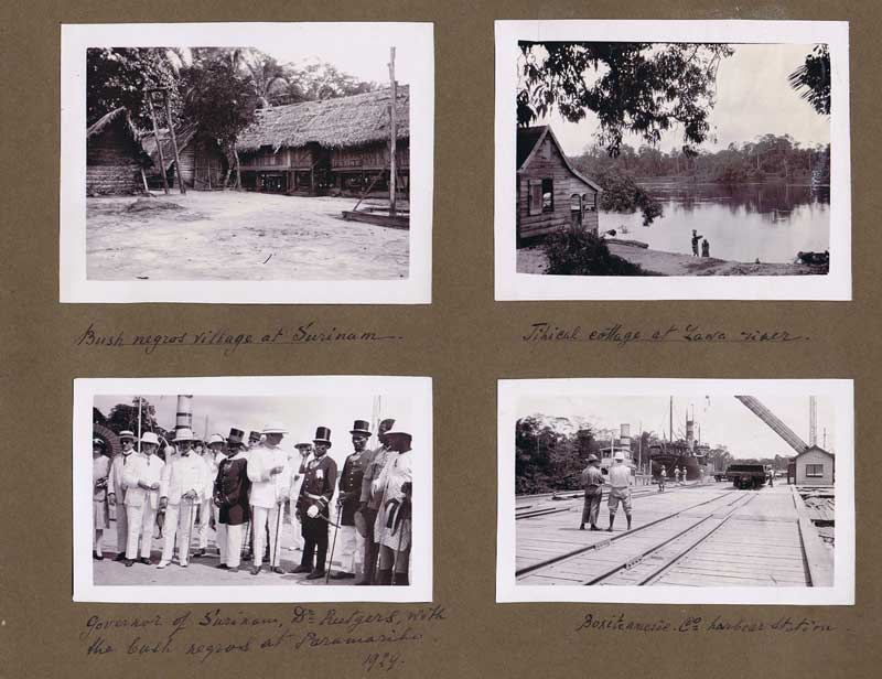 SURINAME Old Photograph album containing many views of Suriname especially gold mining camps.