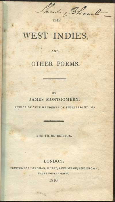 MONTGOMERY James The West Indies and other poems.