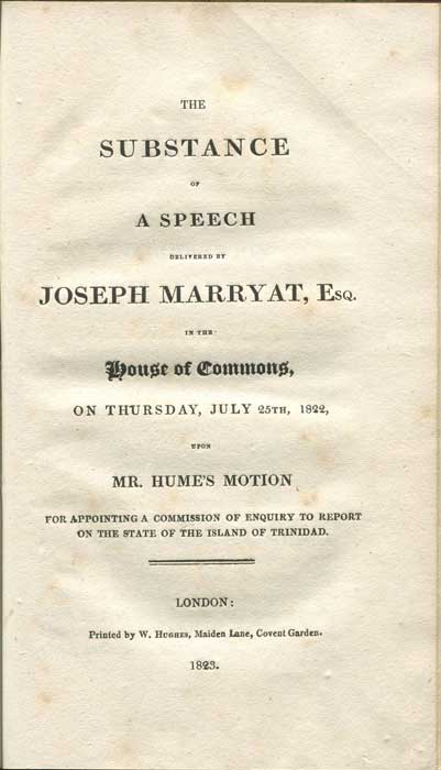 The Substance of a Speech Delivered by Joseph Marryat, Esq. in the House of Commons, Upon Mr. Hume