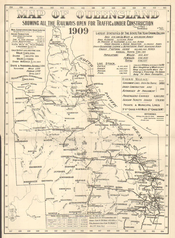 WATERLOW & SONS LTD Map of Queensland showing all the railways open for traffic & under construction.