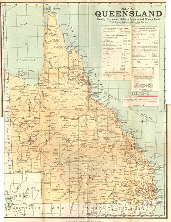 DAVID WHYTE Map of Queensland. - Showing the several railway systems and branch lines, the principal railway stations and towns.