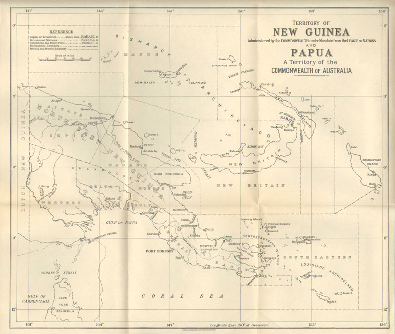 map of papua new guinea and australia. WATERLOW