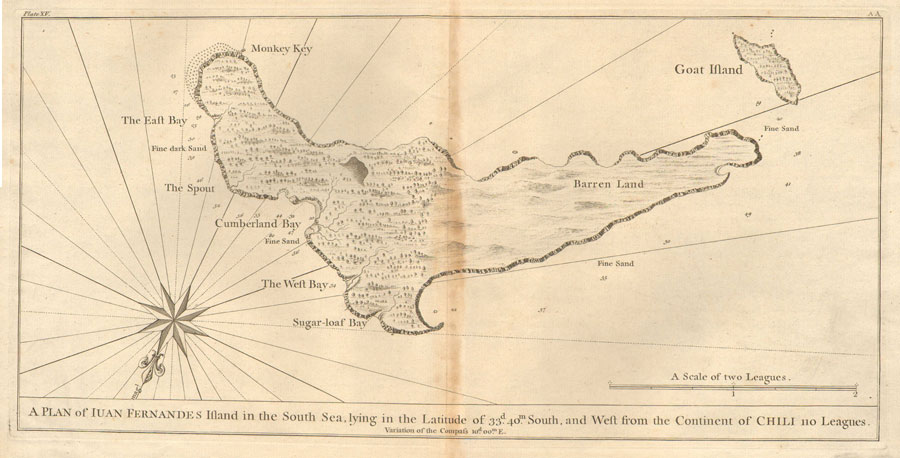 ANSON George A plan of Iuan Fernandes Island in the South Sea, lying in the latitude of 33d 40 m South, and West from the continent of Chili 110 leagues.